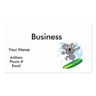 funny surfing koala bear pack of standard business cards