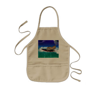 Funny surfing lion apron