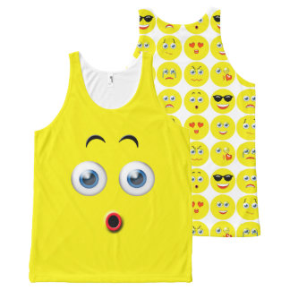 Funny Surprised Emoji Yellow Pattern All-Over Print Tank Top
