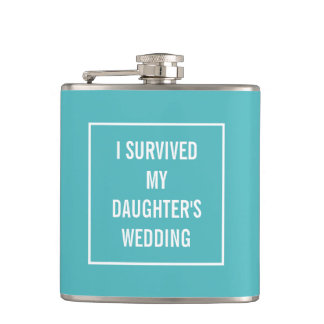 Funny Survived Daughter's Wedding Aqua and White Flasks