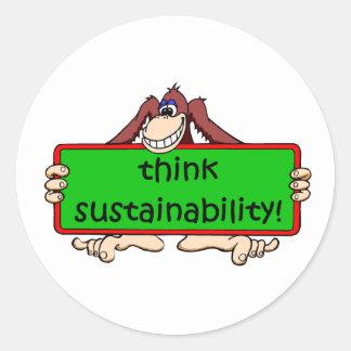 funny sustainability classic round sticker