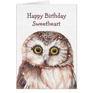 Funny Sweetheart Birthday Cute  Owl  - Greeting Card