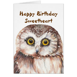 Funny Sweetheart Birthday with Cute Watercolor Owl Greeting Card