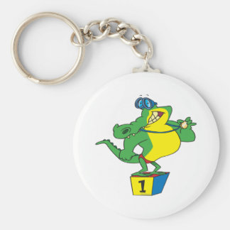 funny swimmer champ alligator crocodile basic round button key ring