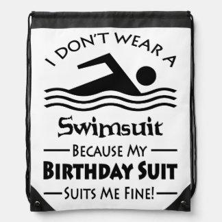 Funny Swimming Drawstring Bag