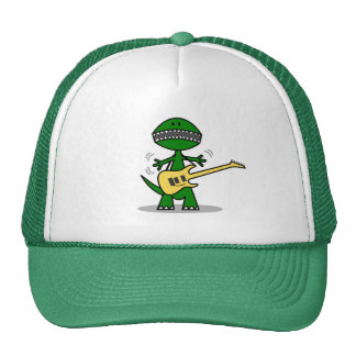 Funny T-Rex Can't Find a Gig Guitar Music Cap