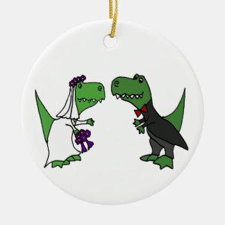Funny T-rex Dinosaur Bride and Groom Wedding Art Christmas Ornament