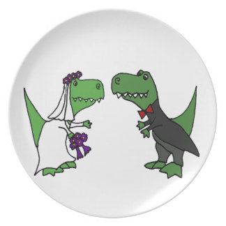 Funny T-rex Dinosaur Bride and Groom Wedding Art Party Plate