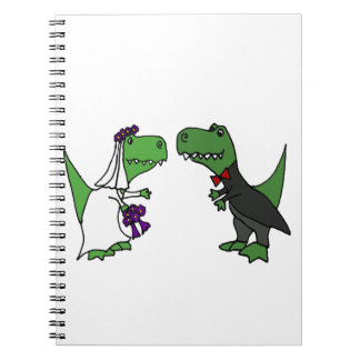 Funny T-rex Dinosaur Bride and Groom Wedding Art Spiral Notebook