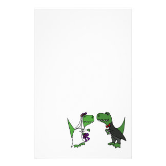Funny T-rex Dinosaur Bride and Groom Wedding Art Stationery