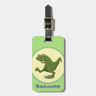 Funny t rex dinosaur cartoon illustration luggage tag