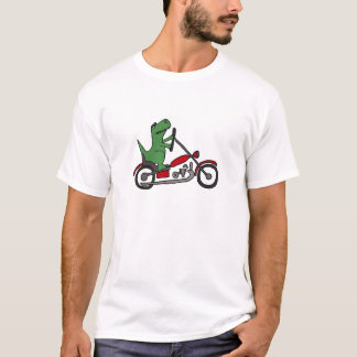 Funny T-rex Dinosaur on Red Motorcycle T-Shirt