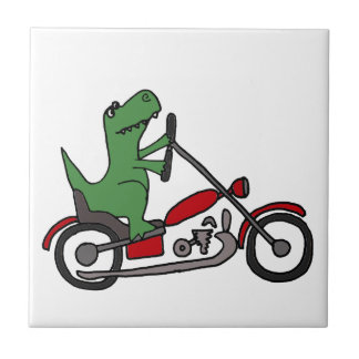 Funny T-rex Dinosaur on Red Motorcycle Small Square Tile