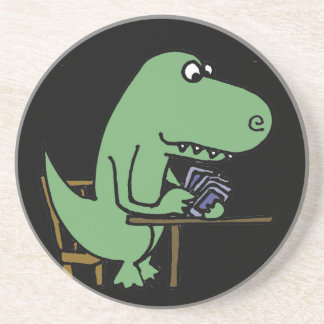 Funny T-Rex Dinosaur Playing Cards Coaster