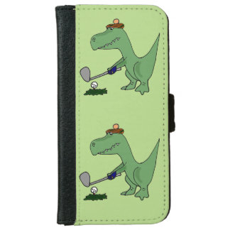 Funny T-Rex Dinosaur Playing Golf iPhone 6 Wallet Case