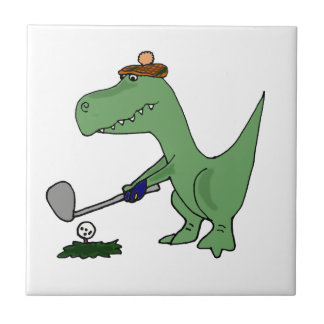 Funny T-Rex Dinosaur Playing Golf Small Square Tile