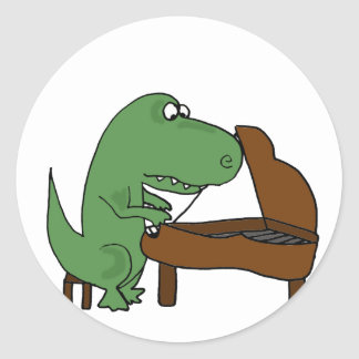 Funny T-Rex Dinosaur Playing Piano Classic Round Sticker