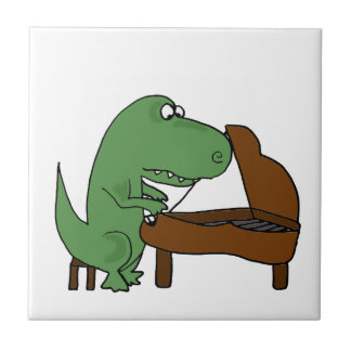 Funny T-Rex Dinosaur Playing Piano Small Square Tile