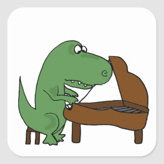 Funny T-Rex Dinosaur Playing Piano Square Sticker