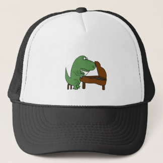 Funny T-Rex Dinosaur Playing Piano Trucker Hat