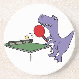 Funny T-Rex Dinosaur Playing Ping Pong Coaster