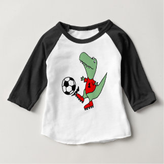 Funny T-rex Dinosaur Playing Soccer Baby T-Shirt