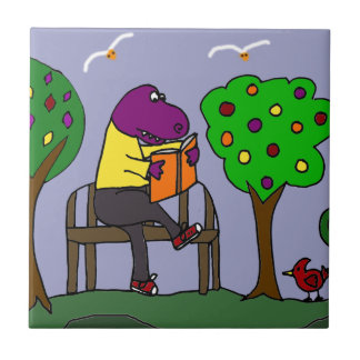 Funny T-Rex Dinosaur Reading on Park Bench Small Square Tile