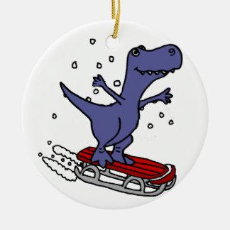 Funny T-rex Dinosaur Sledding Cartoon Christmas Ornament