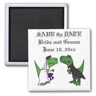 Funny T-rex Dinosaurs Bride and Groom Wedding Art Square Magnet