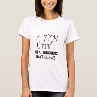 Funny T-Shirt Rhino Real Unicorns Have Curves