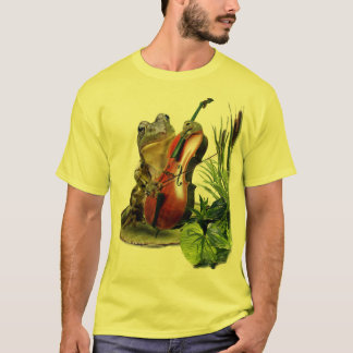 Funny T-shirt with frog playing cello