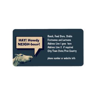 Funny Talking Horse Address Label