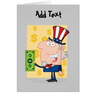 Funny Tax Day cartoons - USA dollars personalized Card