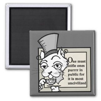 FUNNY TEA DRINKING CAT SQUARE MAGNET