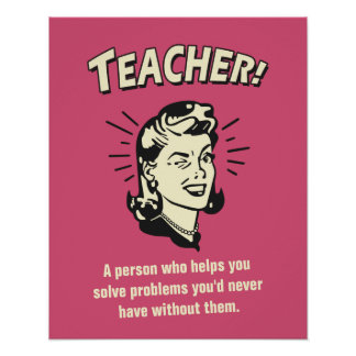Funny Teacher Definition for Students Retro Style Poster