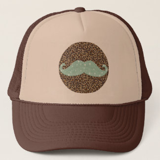 Funny Teal Green Bling Mustache And Animal Print Trucker Hat