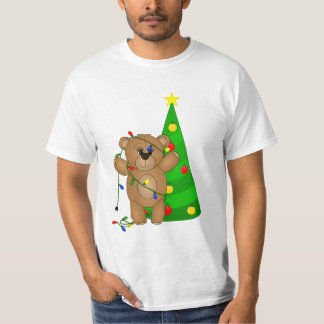 Funny Teddy Bear Tangled in Christmas Lights T-Shirt