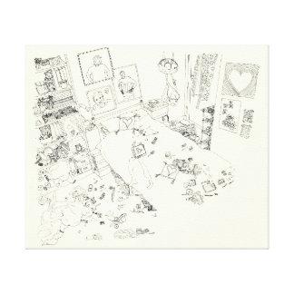 Funny Teenage Girls Bedroom Mess Line Drawing Art Canvas Print