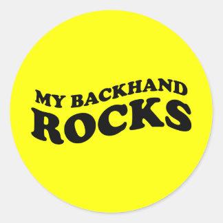 Funny Tennis Sticker Gift: My backhand rocks