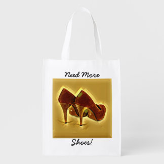 Funny Text Red and Gold Ladies High Heeled Shoes Reusable Grocery Bag