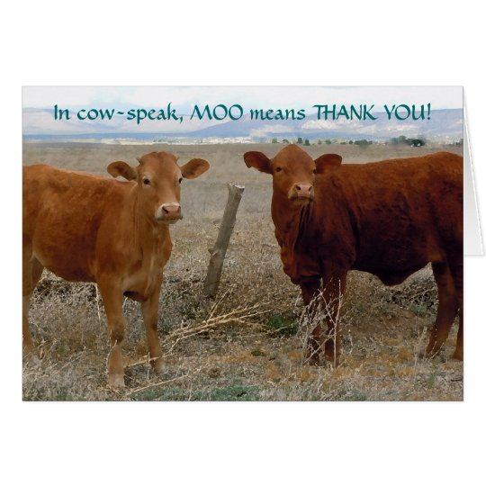 Funny Thank You - Red Cow Animal Humour
