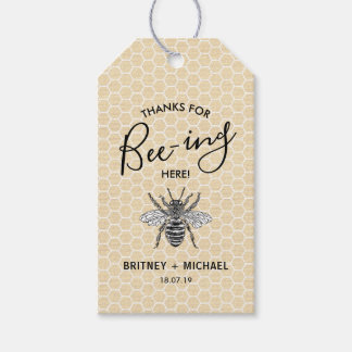 Funny Thanks for Bee-ing Here | Rustic Vintage Bee Gift Tags