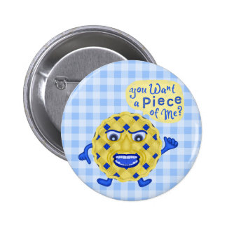 Funny Thanksgiving Blueberry Pie Humor Gingham 6 Cm Round Badge