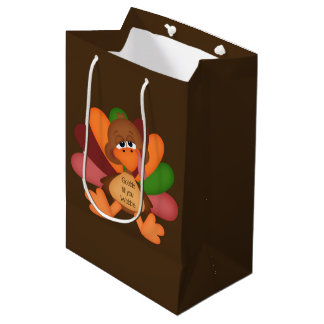 Funny Thanksgiving turkey medium gift bag