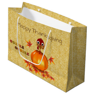 Funny Thanksgiving Turkey Pumpkin Large Gift Bag