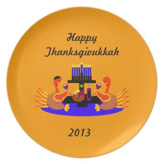 Funny Thanksgivukkah  Plate Wine Drinking Turkeys