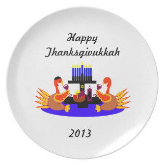 Funny Thanksgivukkah  Plate Wine Drinking Turkeys