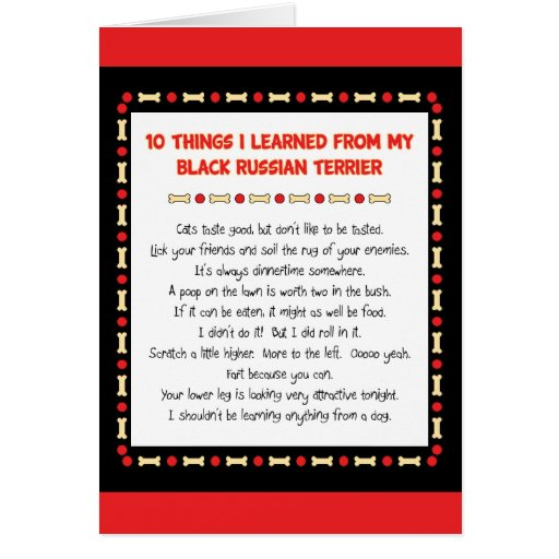 Funny Things I Learned From Black Russian Terrier Greeting Card