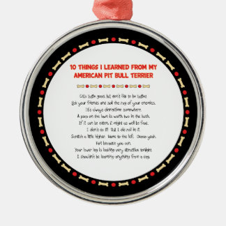 Funny Things I Learned From My American Pit Bull Christmas Ornament