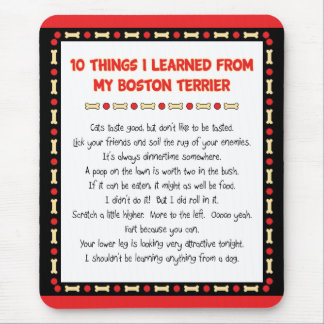 Funny Things I Learned From My Boston Terrier Mouse Pad